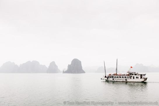 A very misty day in Ha Long Bay.