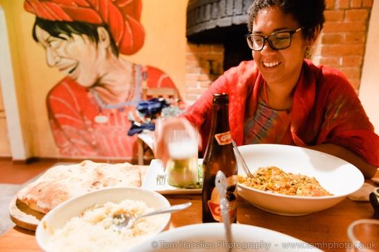 Having a gorgeous curry at Restaurant Fe, San Marcos la Laguna.